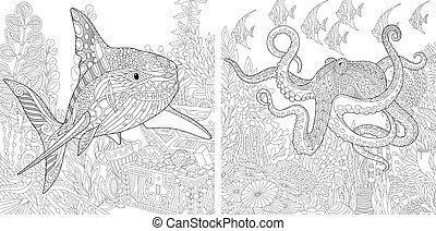 haai, kleuren, pagina's, octopus.