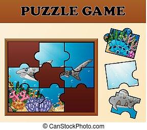 haai, raadsel, spel, thema, plank, beelden, schaduw, bijbehorend