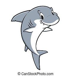 haai, spotprent, vriendelijk