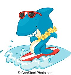 haai, surfer