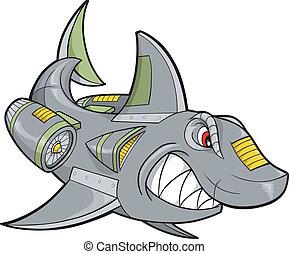 haai, vector, robot, illustratie