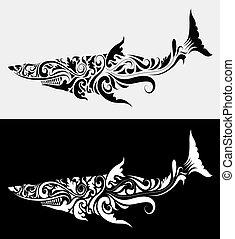 haai, vector, van een stam