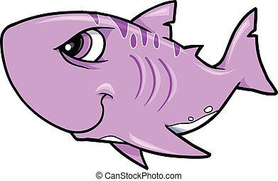 haai, vector, volhardend, illustratie