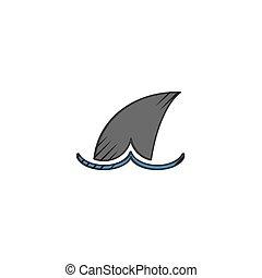 haai, witte achtergrond, pictogram