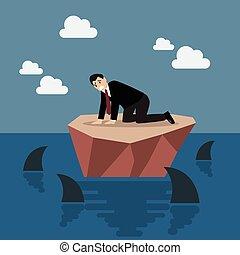 haaien, eiland, omringde, kleine, zakenman, hulpeloos