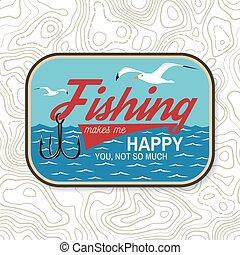 haak, vrolijke , hemd, silhouette., visserij, afdrukken, ...