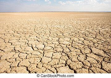 Haakskeen Pan in the Kalahari - A dry cracked earth...