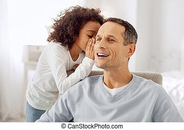 haar, alarm, het fluisteren, meisje, oor, papa's