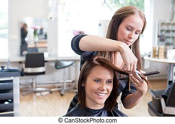 haar- ausschnitt, client's, friseur