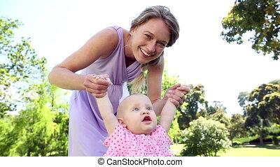 haar, baby, moeder het spelen, vrolijke