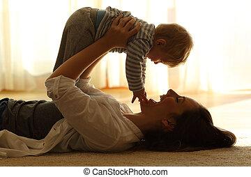 haar, backlighting, moeder, baby, thuis, verheffing