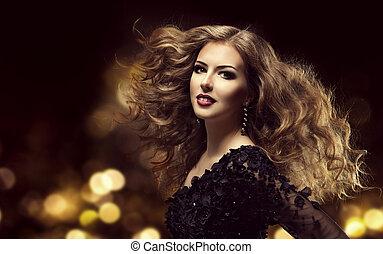 haar, beauty, mannequin, lang, krullend, hairstyle, jonge vrouw , met, bruine , wavy haar, stijl