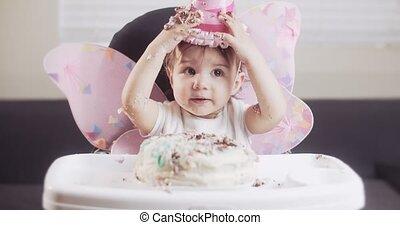 haar, birthday., baby meisje, viert, eerst