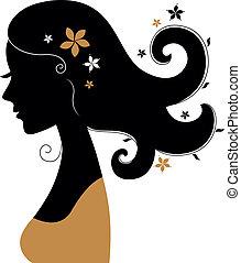 haar, bloemen, vrouw, silhouette, retro