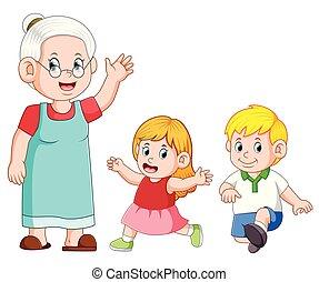haar, boeiend, grootmoeder, kleinkind, spelend, care