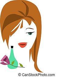 haar, bruine , -2, dame, parfum