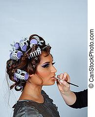 haar, brush., modell, lippenstift, lockenwickler