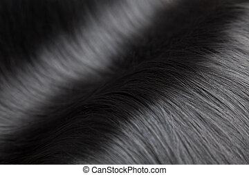 haar, closeup, schwarz, glänzend, luxuriös