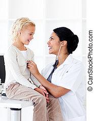 haar, controleren, vrouwtje arts, vrolijk, patiënt, gezondheid