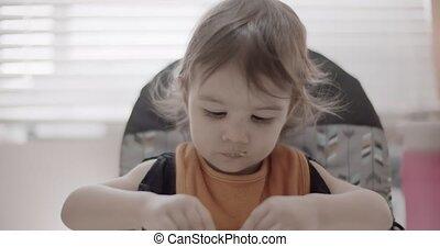 haar, diner., toddler eten