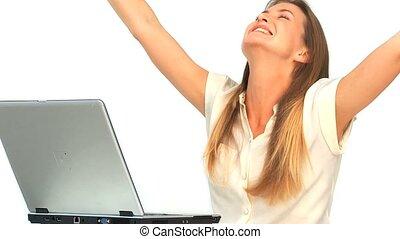 haar, draagbare computer, het kijken, vrouw, vrolijke