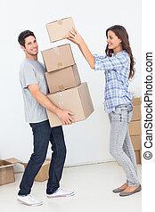 haar, echtgenoot, dozen, geven, vrouw