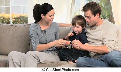 haar, echtgenoot, moeder, geven, zoon, cakes