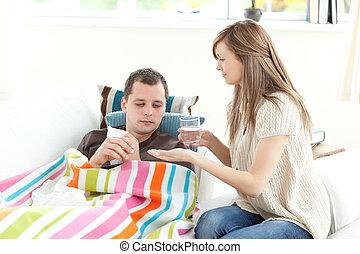 haar, echtgenoot, positief, vrouw, afname zorg