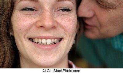 haar, emoties, gezicht, gefluister, vrouw, oor, man