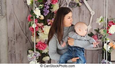 haar, family., moeder, baby, spelend, vrolijke
