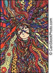 haar, fantasie, meisje, kleur, illustratie