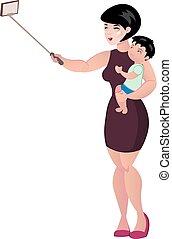 haar, foto, selfie., vasthouden, moeder, baby, vervaardiging