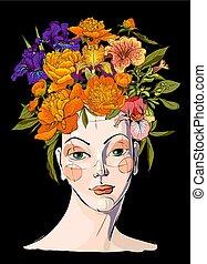 haar, frühjahrsblumen, frau, sie