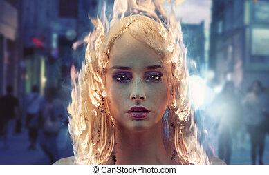 haar, frau, junger, brennender