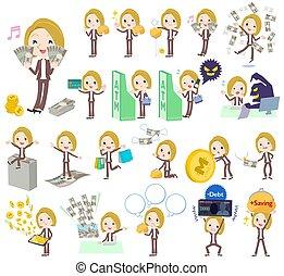 haar, geld, witte , vrouw, blonde