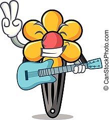 haar, gitaar, spotprent, klem, mascotte