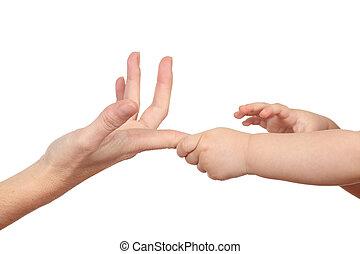 haar, graaiende, handen, vinger, moeder, baby