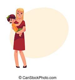 haar, handen, zoon, vasthouden, moeder, vrolijke