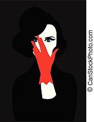 haar, handschoen, mond, op, het verbergen, lippenstift,...