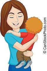 haar, het koesteren, zoon, moeder, spotprent, vrolijke