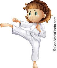 haar, het tonen, jonge, karate, meisje, bewegingen