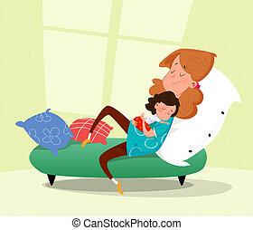 haar, illustratie, verdrietige , vector, child., moeder, spotprent, huging