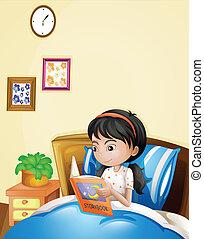 haar, jonge, bed, storybook, lezende , dame