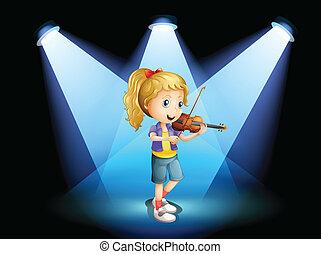 haar, jonge, viool, meisje, spelend, toneel