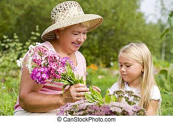 haar, kleinkind, oma