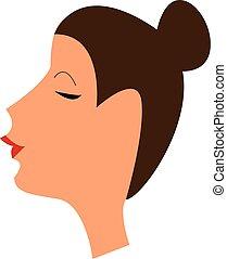haar, kleur, op, gebonden, haar, vector, illustratie, dame, of