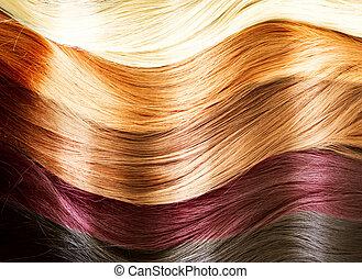haar, kleuren, palette., haar, textuur