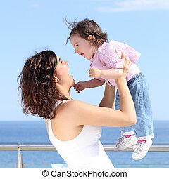 haar, lachen, mooi, moeder, baby meisje, verheffing