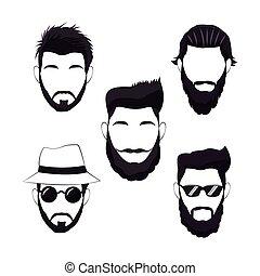haar, mannen, hipster, verzameling, baard