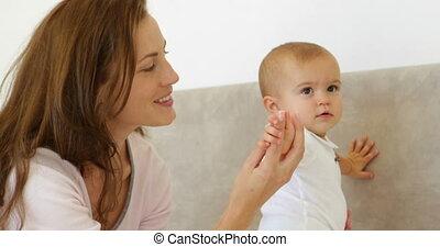 haar, mooi, baby, schattig, moeder het spelen